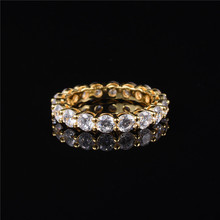 Luxury 925 Sterling SILVER SETTING PAVE FULL ETERNITY BAND ENGAGEMENT WEDDING Rings for women DIAMOND 18K yellow gold Jewelry helon cubic zirconia cz solid 10k yellow gold pave prongs setting wedding ring engagement rings for women