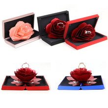 3D Pop Up Rose Ring Box Folding Rotating Rose Ring Box Birth