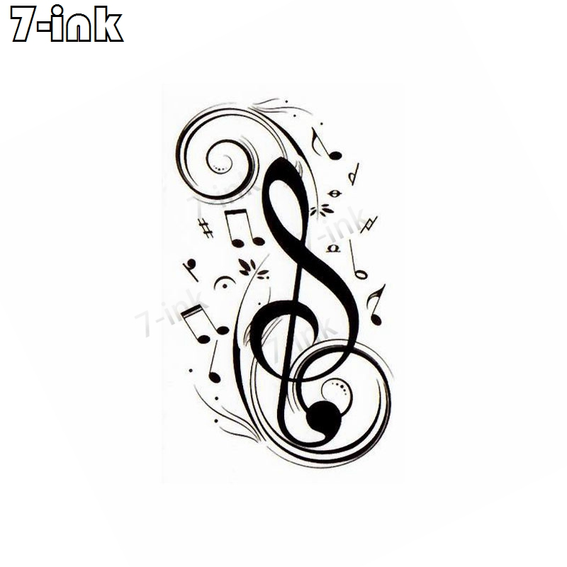Waterproof Temporary Tattoo Sticker Musical Note Sign Music Festival Tatto Water Transfer Flash  Fake Tatoo For Men Women