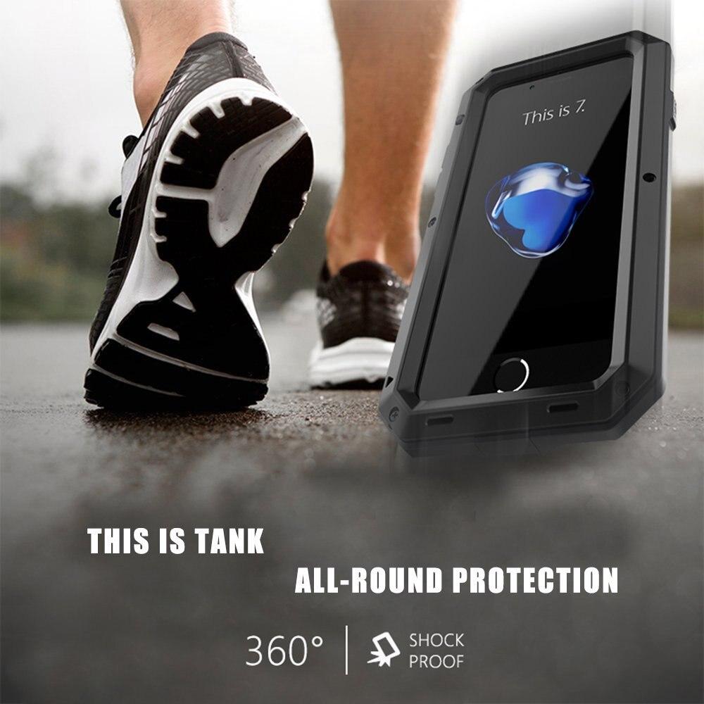 Luxe Doom Armor Vuil Shock Waterdichte Metal Aluminium Telefoon Tassen Case Voor Iphone 7 11 6 6S 8Plus xs Max Xr Cover + Gehard Glas 2