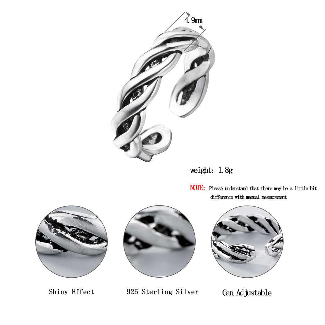 Retro โบราณเงิน 925 เงินสเตอร์ลิงเปิดแหวนผู้หญิงผู้ชาย Twist CHAIN ปรับนิ้วมือแหวนแฟชั่นเงินเครื่องประดับ