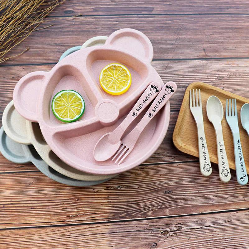 3 ชิ้น/เซ็ตเด็กชาม + ช้อน + ส้อมอาหารบนโต๊ะอาหารการ์ตูนหมีเด็กจานกินอาหารเย็น Anti-HOT การฝึกอบรมจานอาหารค่ำ