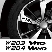 4 pçs aro da roda do carro adesivos para mercedes benz w124 w203 w204 citan sprinter vito viano r v classe auto acessórios de vinil decalques