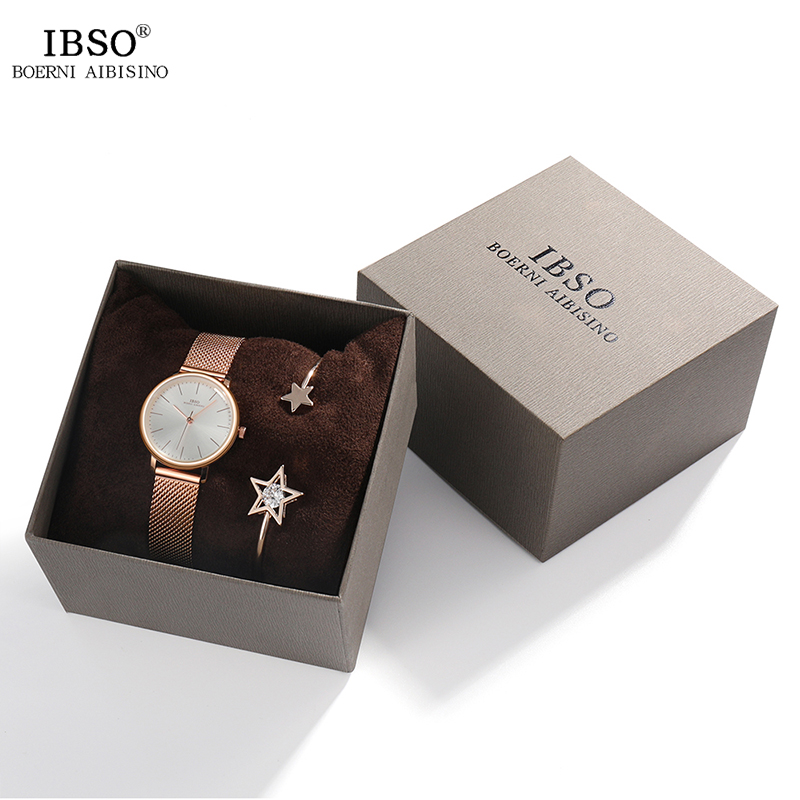 IBSO Women's Watches Set 8mm Ultra Thin Rose Gold Mesh Stainless Steel Strap Quartz Clock Hours Sets Ladies Relogio Masculino