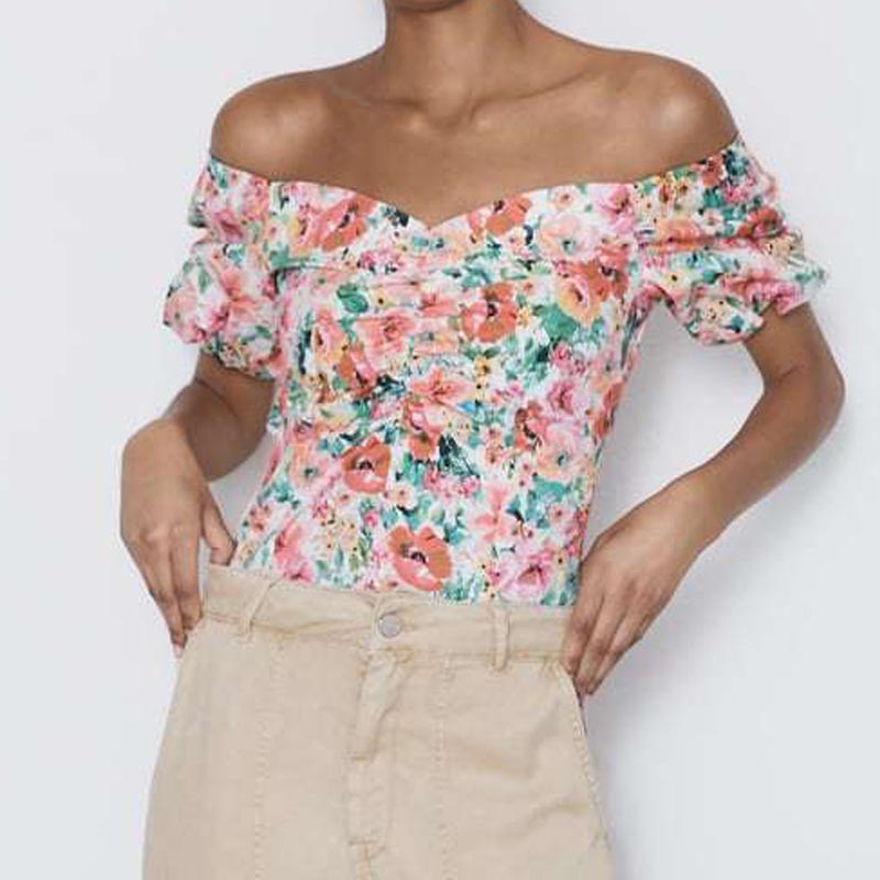 CS644 European Design Elegant V Neck Short Sleeve Blooming Floral Print Slim Blouse Shirts Tops-in Blouses & Shirts from Women's Clothing on AliExpress - 11.11_Double 11_Singles' Day 1