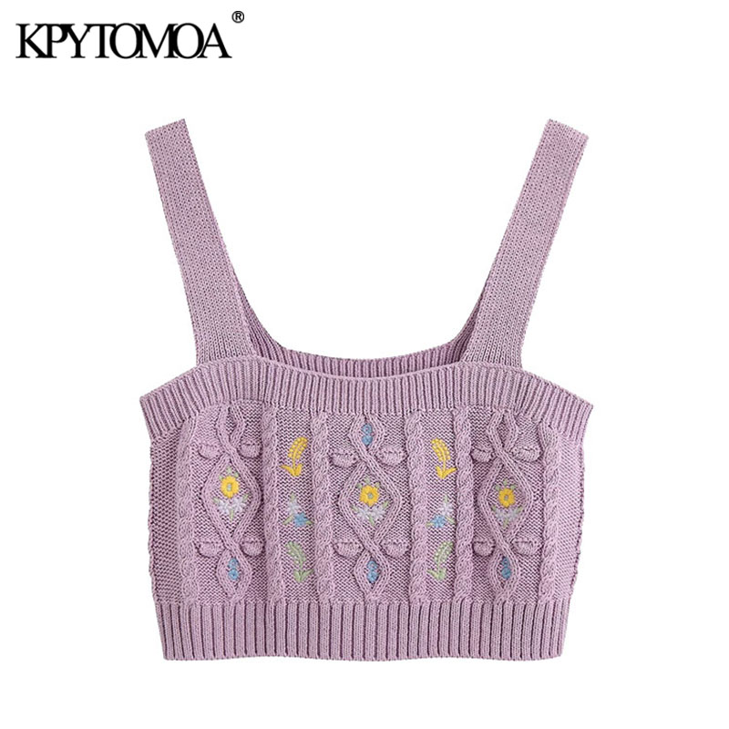 KPYTOMOA Women 2020 Sweet Fashion Floral Embroidery Knitted Cropped Blouses Vintage Backless Straps Female Shirts Chic Tops