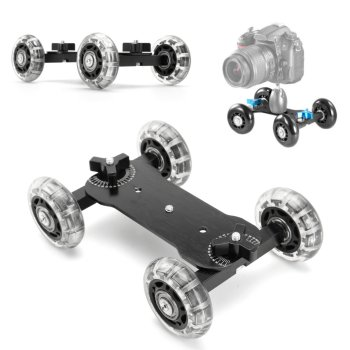 DSLR Desktop Camera Video Wheels Rail Rolling Track Slider Dolly Car Skate Glide Camera Rolling Sliding Dolly Stabilizer Skater image