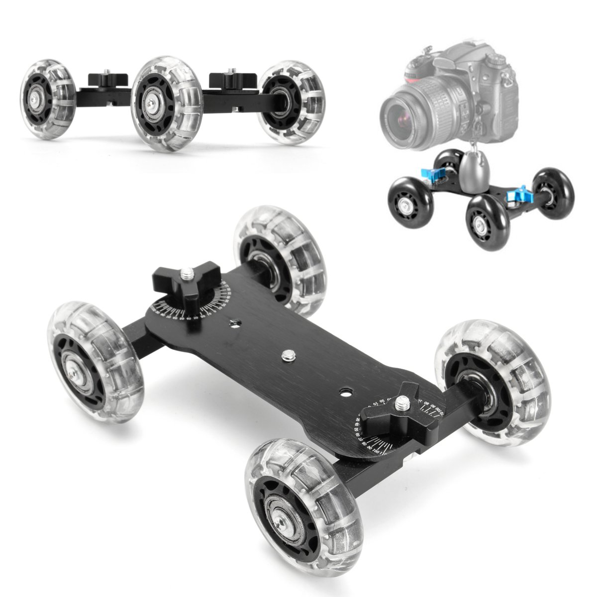 DSLR Desktop Camera <font><b>Video</b></font> Wheels Rail Rolling Track Slider Dolly Car Skate Glide Camera Rolling Sliding Dolly Stabilizer Skater image