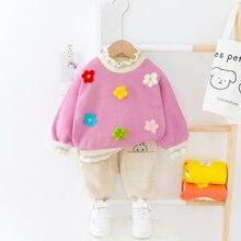 Çiçek kız elbise mantar yaka yürüyor çocuk giyim 2020 ilkbahar sonbahar çocuk takım elbise kostüm bebek giysisi setleri