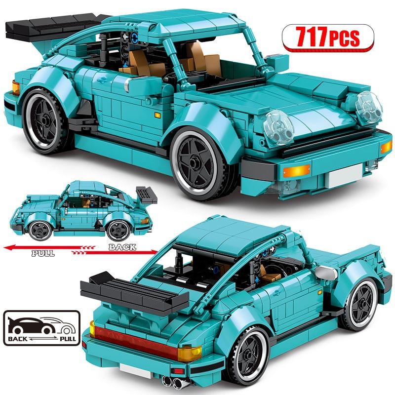717 шт. город спортивный автомобиль Модель Строительный блок технические тянуть обратно гоночный автомобиль кубики MOC, обучающие игрушки для...