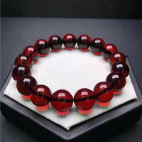 12mm Genuine Natural Blood Red Amber Bracelet For Woman Man Crystal Round Beads Reiki Stone Gemstone Jewelry Certificate AAAAA