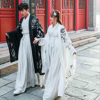 Chinese Traditional Hanfu Couples Fantasia Adult Halloween Cosplay Costume Black&White Chinese Hanfu For Women&Men Plus Size 4XL couples hanfu chinese tradition fantasia adult cosplay costume carnival party costume hanfu dress white for men
