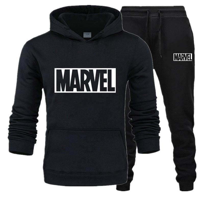 New Autumn Brand SweatSuit Men Long Sleeve Tracksuit MARVEL Letter Printing Fashion Mens Hoodies+Pants Sets Casual  Sportwear