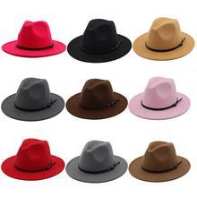 Винтажная одноцветная фетровая шляпа-котелок с широкими полями Fedora, зимняя женская кепка, зимние шапки для женщин Laday Jazz, уличная одежда