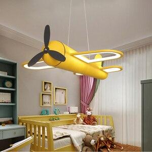 Image 1 - الحديثة led الثريات ضوء طائرة الأزرق الأصفر أضواء للأطفال غرفة الاطفال طفل الفتيان الإضاءة مصباح نجف المنزل