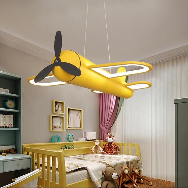 الحديثة led الثريات ضوء طائرة الأزرق الأصفر أضواء للأطفال غرفة الاطفال طفل الفتيان الإضاءة مصباح نجف المنزل