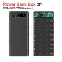 Caixa de bateria diy, 5v dupla usb 8*18650 power bank caixa de bateria com exibição alta capacidade 18650 carregador usb capa para iphone samsung huawei