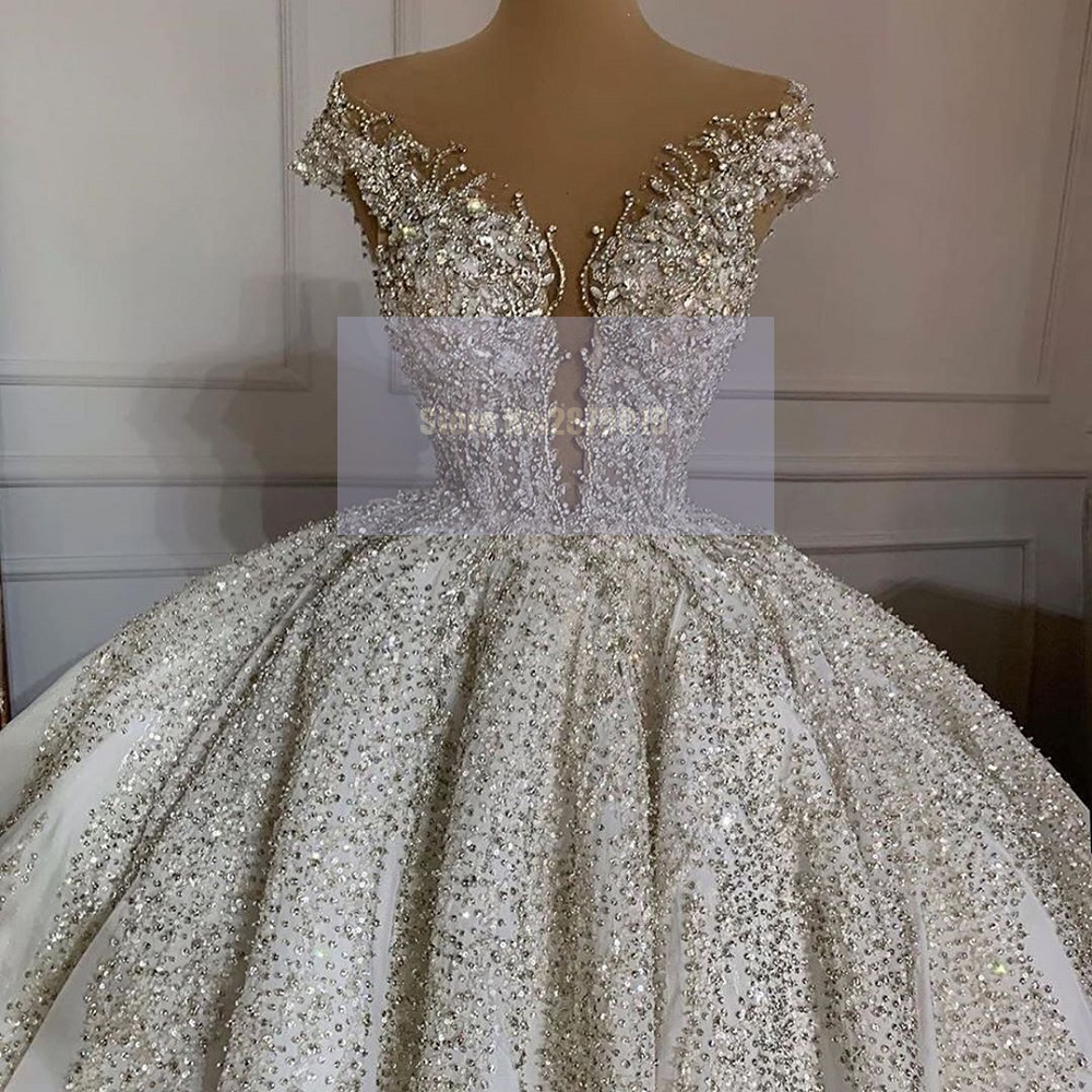 Hot Sale 3ef7 African Luxury Sparkly Wedding Dress Sequined Beaded Crystal Ball Gown Floor Length Vintage Wedding Gowns Bridal Gowns Dubai Cicig Co
