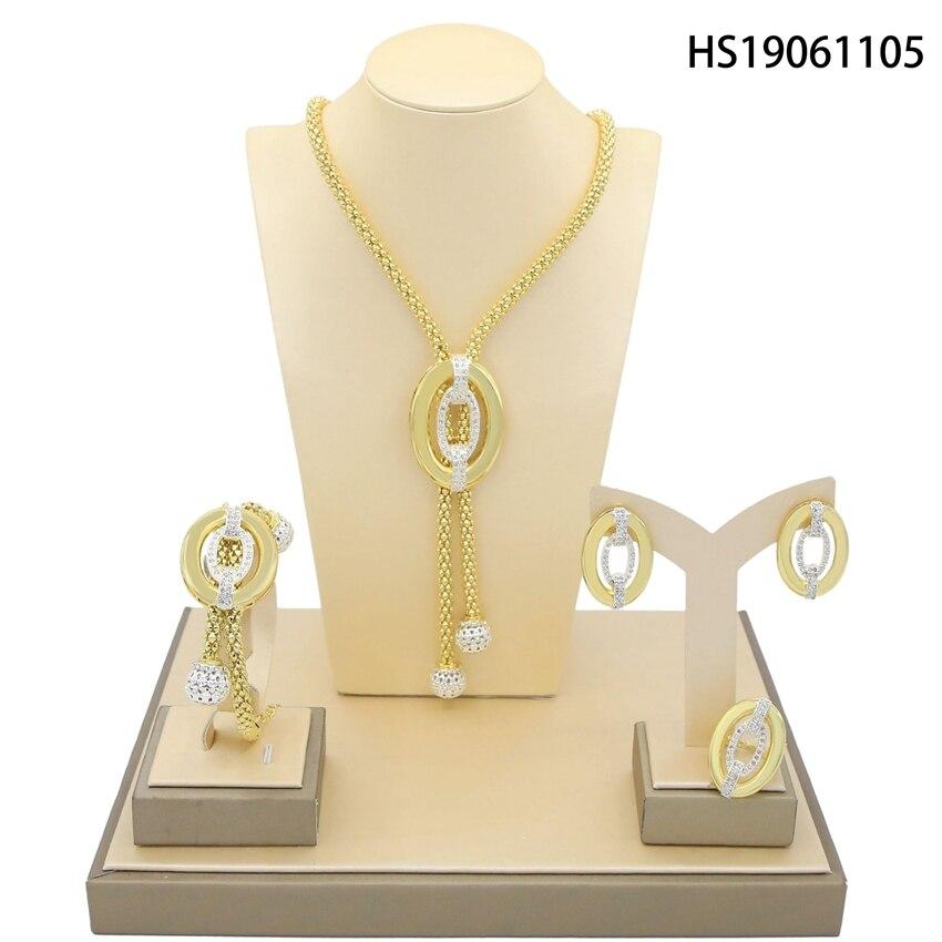 Yulaili autriche cristal Vintage africain longue chaîne pendentif collier boucles d'oreilles pour les femmes cadeaux de fête Dubai or ensembles de bijoux