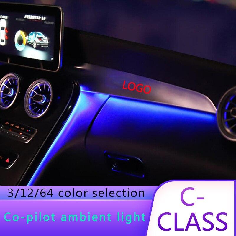 Atmosphere Light Passenger Trim Led Light For W205 Mercedes Benz C Class 2015-2019 In Co-pilot Dashboard Ambient Light Stripes