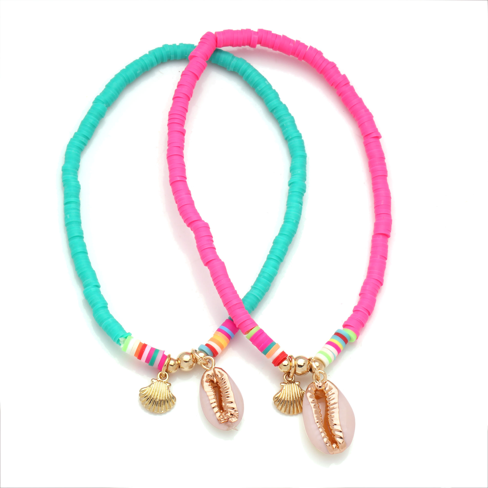 Polymer Clay Beads Cowrie Seashell Sea Fan Charm Stretch Heishi Anklet Women Men 2020 New Fashion Pink Elastic Thread Jewelry