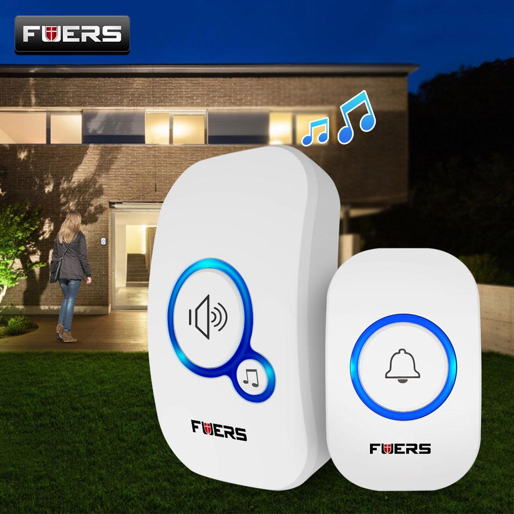 Беспроводной дверной звонок Fuers, умный звонок для домашней двери, 32 Песни, водонепроницаемый