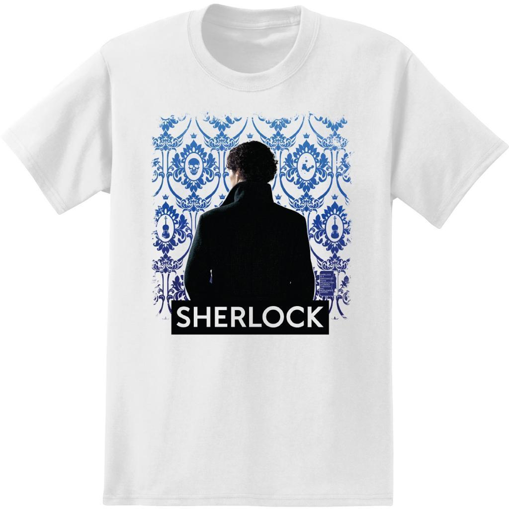Adult White Detective TV Show Sherlock Holmes Wallpaper Background T-Shirt Tee image