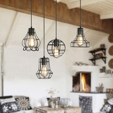 Vintage Lamp Shade Iron Lamp Cage Metal Pendant Ceiling Light Hanging Lamp Shade for Home Restaurant J8