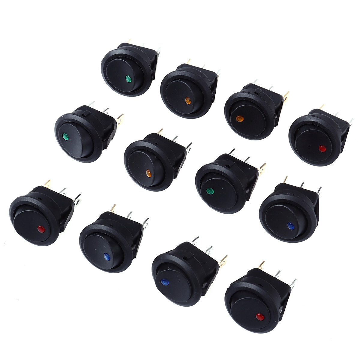 12 PCS 12V 20A Car Truck Round Rocker Toggle LED Switch SPST On-Off Control With Red Blue Green Yellow Bulbs A30
