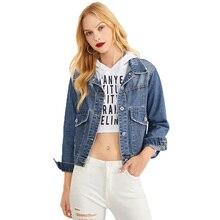 Blue Jeans Jacket Women Short Denim Jackets Coat Autumn Holes Design Pockets Fashion No Fur Outwear недорого