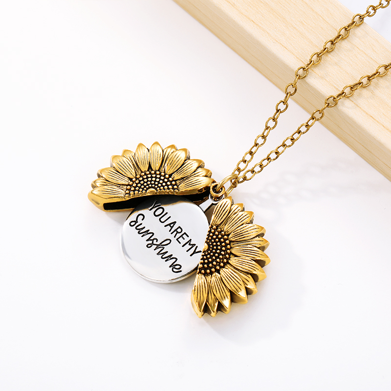 Hf018f1378c6244eda0e2d08820832696G - You Are My Sunshine Sunflower Necklaces For Women Rose Gold Silver Color Long Chain Sun Flower Pendant Necklace Fashion Jewelry