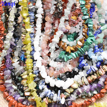 Cuentas de piedra Natural de 5-8mm, 16 pulgadas, amatista, turquesa, Ojo de Tigre, Chips, cuentas para fabricación de joyas, pulsera de cuentas de grava Irregular