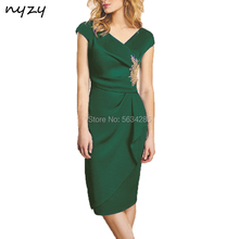 Robe Cocktail-Dresses Party-Homecoming Knee-Length Elegant Green Satin Emerald NYZY Vestido