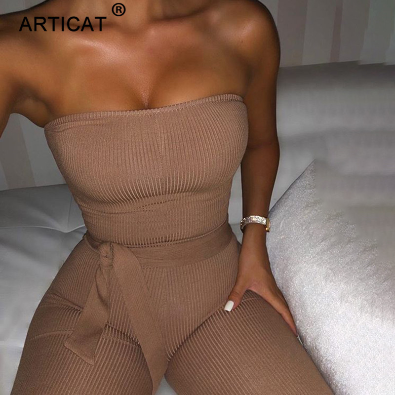 Articat Cotton Knitted Sexy Jumpsuit Women Off Shoulder Bodycon Rompers Womens Jumpsuit With Belt Fashion Long Pants Jumpsuits