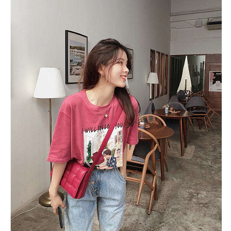 MISHOW 2020 Spring New Women T-shirt Casual Short Sleeve O Neck Tops Tees Cotton Loose Print Female Fashion Streewear MX20A3541