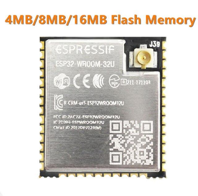 ESP32 WROOM 32U 4MB 8MB 16MB Flash bellek wi fi + BT + BLE ESP32 modülü IPEX anten konnektör Espressif orijinal