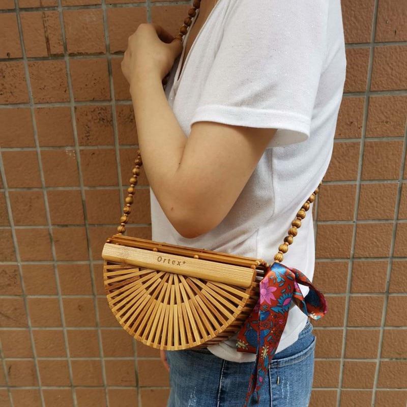 New Fashion Bamboo Braided Bag Handmade Woven Crossbody Bags Semi-circle Bamboo Handbags Basket(With Scarf)