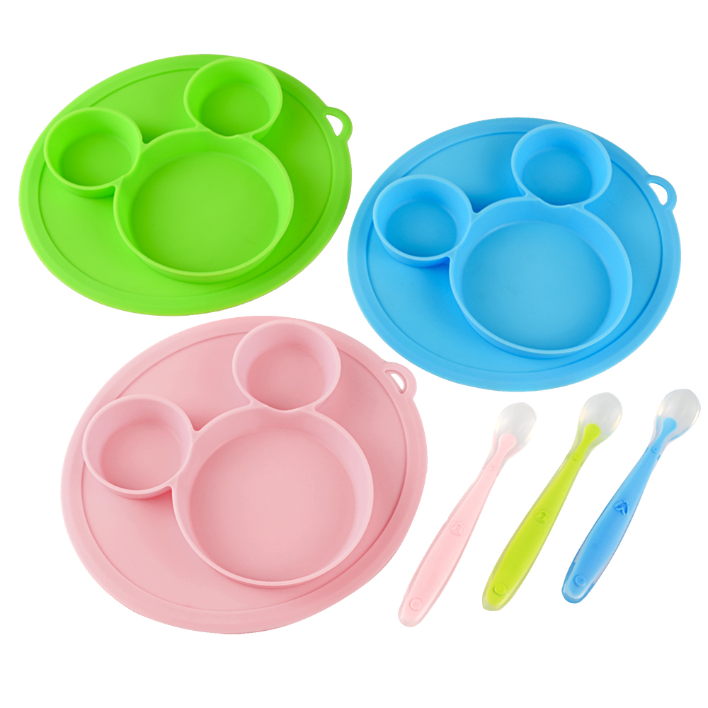 Quaslover Baby Feeding Plate Set Children Food Silicone Safety Plate Tableware Baby Bowl Silicone Bowl Kids Eating Dishes