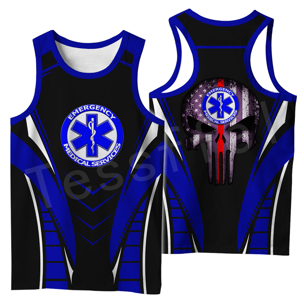 Tessffel Emergency Medical Service Technician EMT EMS Paramedic Hero New Fashion Unisex Casual 3DPrint Harajuku Vest Tank-Top S2