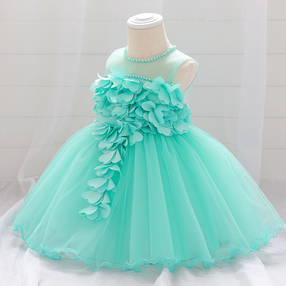 1 Year Baby Girl Outfit Birthday Dress Kids Clothes Floral White Wedding Dress Princess Party Ball Gown Toddler Infant Dresses