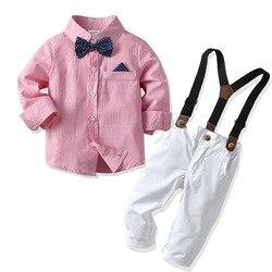 Одежда для маленьких мальчиков, джентльменская футболка, топ + штаны, комплект из 2 предметов, повседневный комплект одежды для маленьких ма...