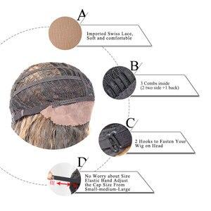 Image 4 - Аногол Розовый Синтетический кружевной передний парик длинные волнистые волосы парики с бесплатной частью для женщин высокая температура волокна