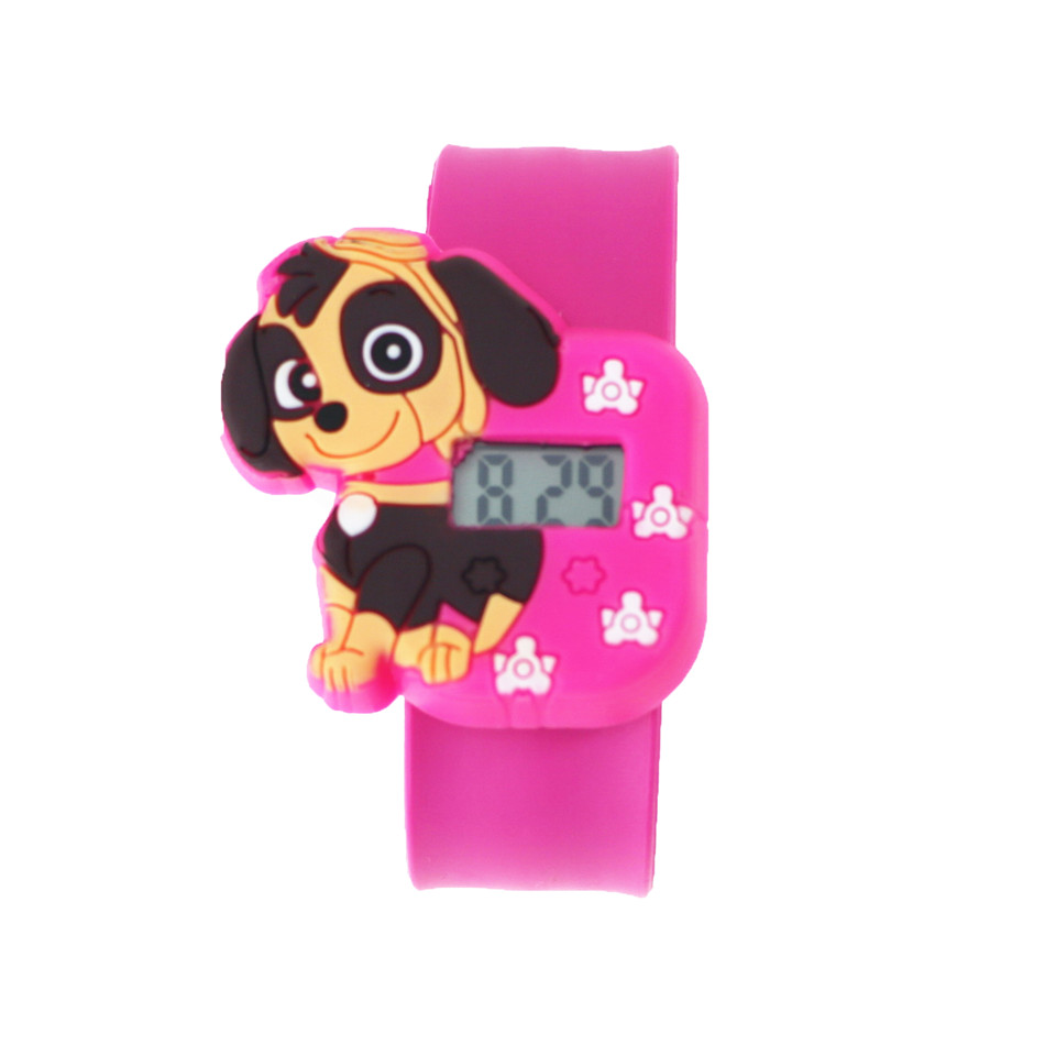 Pink Silicone Kids Girls Watch Waterproof LED Digital Watches Plastic Kids Dog Animal Watch Toy Gift For Kid