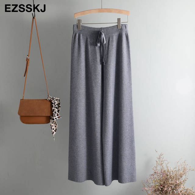 2019 autumn winter new THICK casual straight pants women female drawstring loose knitted wide leg pants casual Trousers 61