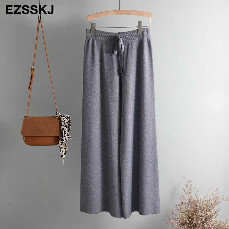 2019 осень зима новые толстые повседневные Прямые брюки женские свободные трикотажные широкие брюки повседневные брюки