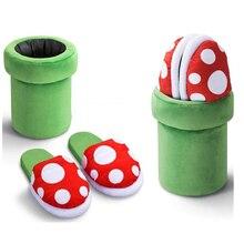 Тапочки Super Mario Bros; обувь для костюмированной вечеринки с украшением в виде цветка; сезон осень-зима; плюшевые тапочки; Рождественский подарок;