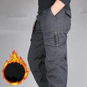 Image 3 - Męskie zimowe ciepłe grube spodnie dwuwarstwowe polarowe wojskowe kamuflaż wojskowy taktyczne bawełniane długie spodnie męskie workowate spodnie Cargo