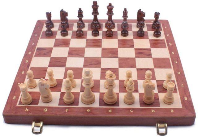 Jeu d'échecs en noyer 15 ''x 15'' avec intérieur de plateau de jeu feutré pour rangement 1