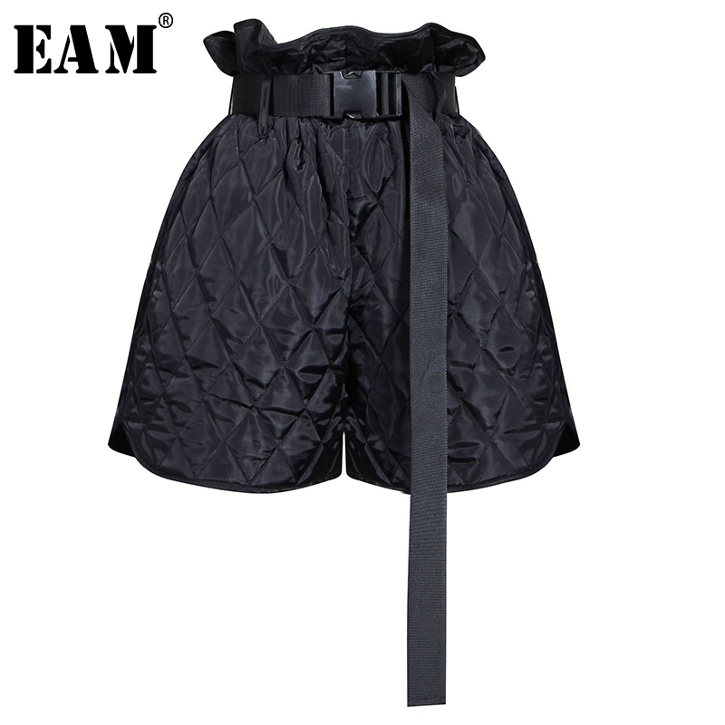 [EAM] Women Black Ruffles Bandage Brief Wide Leg Shorts New High Waist Loose Fit  Trousers Fashion Tide Spring Autumn 2020 1N881
