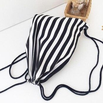 Ocasionales de la lona de las mujeres con cordón para playa mochila...